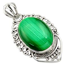 13.70cts natural green malachite (pilot's stone) oval 925 silver pendant r32373