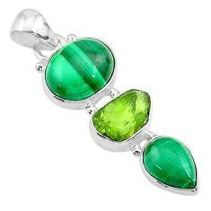 11.57cts natural green malachite (pilot's stone) oval 925 silver pendant t18763