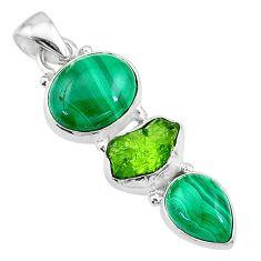 11.95cts natural green malachite (pilot's stone) oval 925 silver pendant t18768