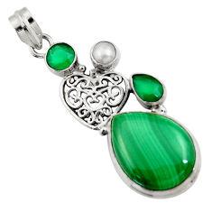 18.22cts natural green malachite (pilot's stone) pearl 925 silver pendant d42725