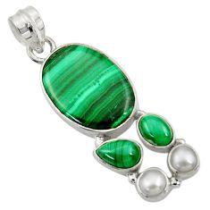 16.46cts natural green malachite (pilot's stone) pearl 925 silver pendant d42761