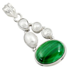 Clearance Sale- 15.76cts natural green malachite (pilot's stone) pearl 925 silver pendant d42762