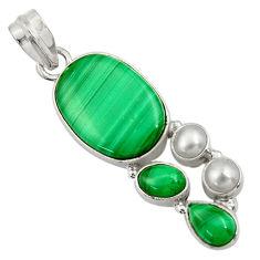 15.97cts natural green malachite (pilot's stone) pearl 925 silver pendant d42779