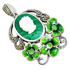 Natural green malachite (pilot's stone) pearl lady face silver pendant c21343