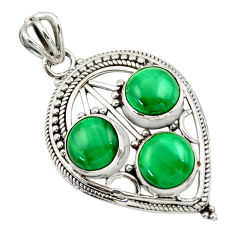 9.72cts natural green malachite (pilot's stone) round 925 silver pendant r32387