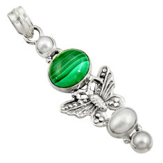 Clearance Sale- 9.72cts natural green malachite (pilot's stone) silver butterfly pendant d42724