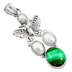 Clearance Sale- 9.72cts natural green malachite (pilot's stone) silver butterfly pendant d42737