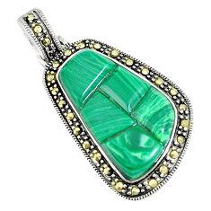 10.02cts natural green malachite (pilot's stone) 925 silver pendant c16504