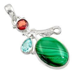 16.46cts natural green malachite (pilot's stone) silver seahorse pendant d42742