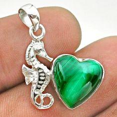 6.61cts natural green malachite (pilot's stone) silver seahorse pendant t55252