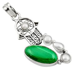 Clearance Sale- 12.04cts natural green malachite 925 silver hand of god hamsa pendant d42729