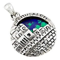 5.53cts natural green malachite in chrysocolla 925 silver pendant jewlery c10274