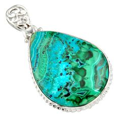 30.40cts natural green malachite in chrysocolla 925 silver pendant r20046