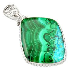 31.00cts natural green malachite in chrysocolla 925 silver pendant r20047