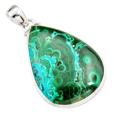 30.40cts natural green malachite in chrysocolla 925 silver pendant r20050