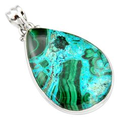 27.08cts natural green malachite in chrysocolla 925 silver pendant r20052