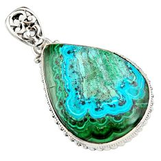 28.30cts natural green malachite in chrysocolla 925 silver pendant r20054