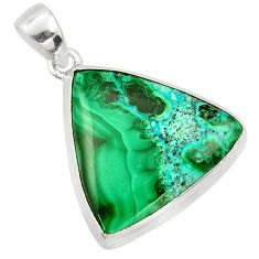 20.07cts natural green malachite in chrysocolla 925 silver pendant r39902