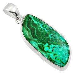 21.48cts natural green malachite in chrysocolla 925 silver pendant r39909