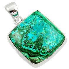 24.38cts natural green malachite in chrysocolla 925 silver pendant r39914