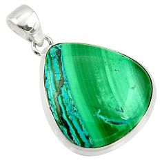 29.93cts natural green malachite in chrysocolla 925 silver pendant r39918