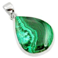 26.70cts natural green malachite in chrysocolla 925 silver pendant r39919