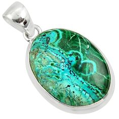 15.65cts natural green malachite in chrysocolla 925 silver pendant r39925