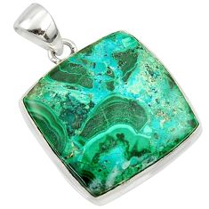 19.68cts natural green malachite in chrysocolla 925 silver pendant r39927