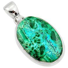 15.05cts natural green malachite in chrysocolla 925 silver pendant r39931