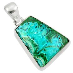 15.65cts natural green malachite in chrysocolla 925 silver pendant r39934