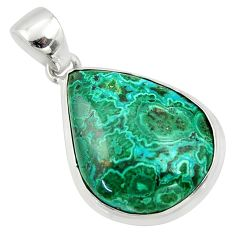 17.22cts natural green malachite in chrysocolla 925 silver pendant r39937