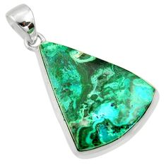 19.60cts natural green malachite in chrysocolla 925 silver pendant r39939