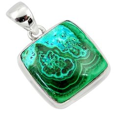 17.57cts natural green malachite in chrysocolla 925 silver pendant r39940