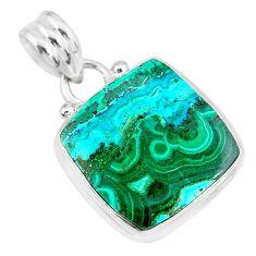 12.18cts natural green malachite in chrysocolla 925 silver pendant r83302