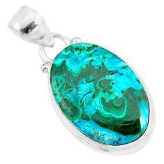 13.15cts natural green malachite in chrysocolla 925 silver pendant r83303
