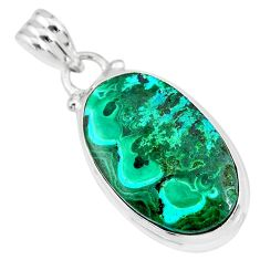 14.72cts natural green malachite in chrysocolla 925 silver pendant r83313