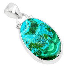 10.65cts natural green malachite in chrysocolla 925 silver pendant r83316