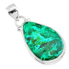 13.17cts natural green malachite in chrysocolla 925 silver pendant r83320