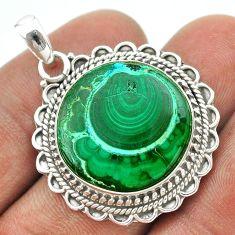 20.45cts natural green malachite in chrysocolla 925 silver pendant t53874