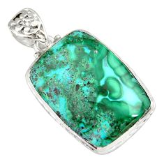 30.40cts natural green malachite in chrysocolla octagan silver pendant r20048