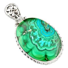 26.70cts natural green malachite in chrysocolla oval 925 silver pendant r20041