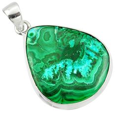 22.02cts natural green malachite in chrysocolla pear 925 silver pendant r39901