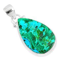 12.58cts natural green malachite in chrysocolla pear 925 silver pendant r83311