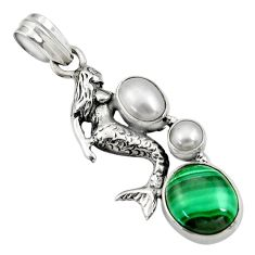 Clearance Sale- 7.22cts natural green malachite pearl 925 silver fairy mermaid pendant d42763