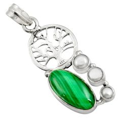 Clearance Sale- 11.27cts natural green malachite pearl 925 silver tree of life pendant d42732