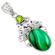Clearance Sale- 15.74cts natural green malachite peridot 925 silver honey bee pendant d42734