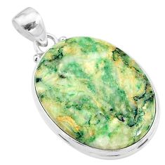 28.08cts natural green mariposite 925 sterling silver pendant jewelry t18507