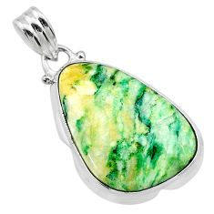 15.55cts natural green mariposite 925 sterling silver pendant jewelry t22683