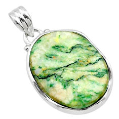 17.93cts natural green mariposite 925 sterling silver pendant jewelry t22688