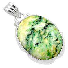 15.02cts natural green mariposite 925 sterling silver pendant jewelry t22695